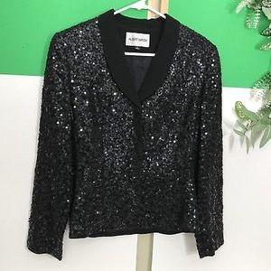 Womens Albert Nipon Sequined Dressy Blazer 6